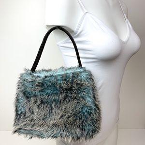 Handbags - Small Faux Fur Purse, Grey Brown & Blue